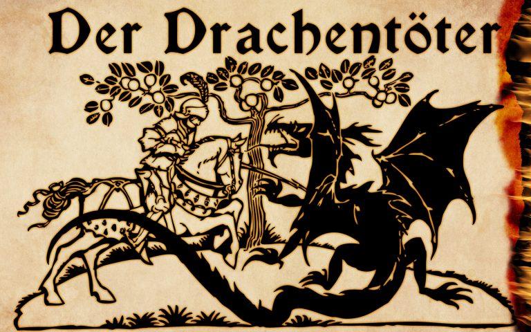 Coverbild des Drachentöter Artikels. Ritter ersticht Drachen