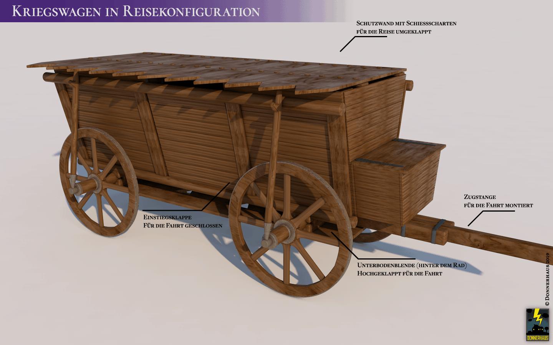 Hussitischer Kriegswagen bereitgemacht in für die Fahrt in Reisekonfiguration