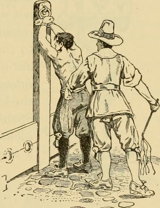 Pilgervater peitscht einen Mann