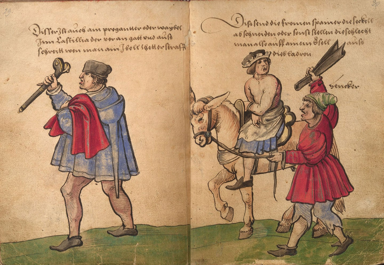 Darstellung eines Eselsritts in einem Trachtenbuch