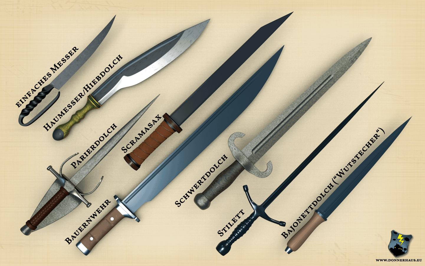 Ansammlung von Dolchen: Einfaches Messer, Haumesser, Pardierdolch, Scramasax, Bauernwehr, Schwertdolch, Stilett und Bajonettdolch (sogenannter Wutstecher)