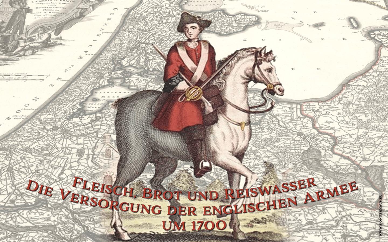 Mother Ross in ihrer Verkleidung als Soldat der englischen Armee vor einer Karte der Niederlande