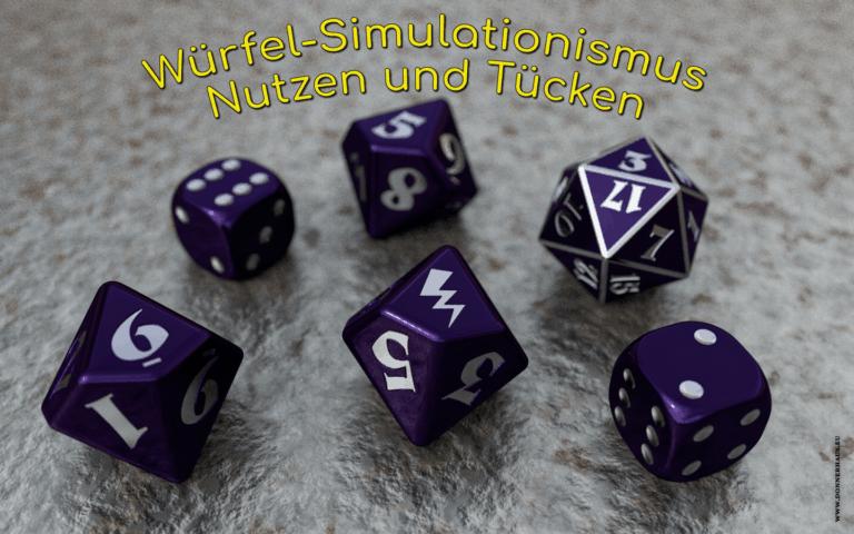Verschiedene Rollenspielwürfel und Artikeltitel