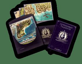 Mappe mit Karten und Jannasaras Tagebuch