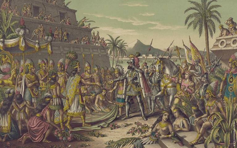Cortes trifft Montezuma. Dieses Zusammentreffen brachte uns auch neue Speisen und fremde Bräuche. Erst einmal läutete es aber das Ende des Aztekenreiches ein.