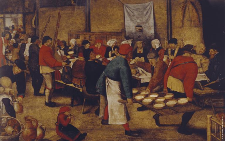 Eine Bauernhochzeit um 1500, gemalt von Pieter Bruegel in den Niederlanden