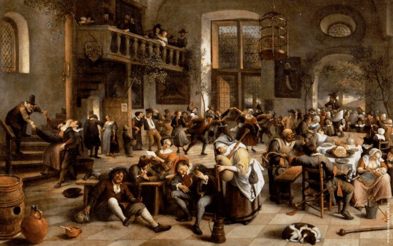 Eine große Tavernengesellschaft in einer prächtigen Halle mit einer kleinen Galerie im Hintergrund, wo weitere Gäste zu sehen sind.