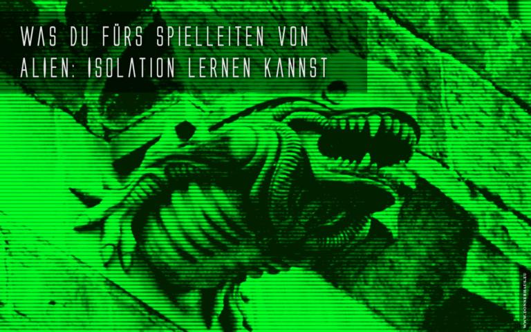 """Ein Xenomorph-Wasserspeier vor grünem """"Nachtsicht""""-Schleier"""